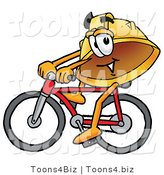 Illustration of a Cartoon Hard Hat Mascot Riding a Bicycle by Toons4Biz