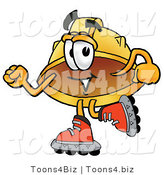 Illustration of a Cartoon Hard Hat Mascot Roller Blading on Inline Skates by Toons4Biz