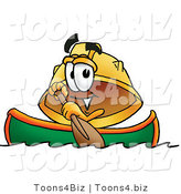Illustration of a Cartoon Hard Hat Mascot Rowing a Boat by Toons4Biz