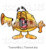 Illustration of a Cartoon Hard Hat Mascot Screaming into a Megaphone by Toons4Biz
