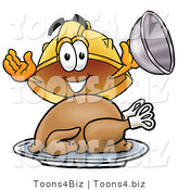 Illustration of a Cartoon Hard Hat Mascot Serving a Thanksgiving Turkey on a Platter by Toons4Biz