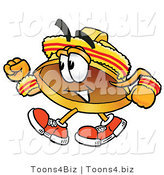 Illustration of a Cartoon Hard Hat Mascot Speed Walking or Jogging by Toons4Biz