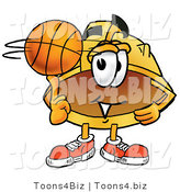 Illustration of a Cartoon Hard Hat Mascot Spinning a Basketball on His Finger by Toons4Biz