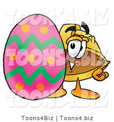 Illustration of a Cartoon Hard Hat Mascot Standing Beside an Easter Egg by Toons4Biz