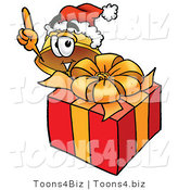 Illustration of a Cartoon Hard Hat Mascot Standing by a Christmas Present by Toons4Biz