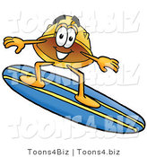Illustration of a Cartoon Hard Hat Mascot Surfing on a Blue and Yellow Surfboard by Toons4Biz