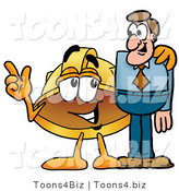 Illustration of a Cartoon Hard Hat Mascot Talking to a Business Man by Toons4Biz