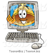 Illustration of a Cartoon Hard Hat Mascot Waving from Inside a Computer Screen by Toons4Biz