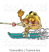 Illustration of a Cartoon Hard Hat Mascot Waving While Water Skiing by Toons4Biz