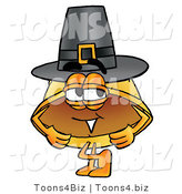 Illustration of a Cartoon Hard Hat Mascot Wearing a Pilgrim Hat on Thanksgiving by Toons4Biz