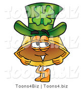 Illustration of a Cartoon Hard Hat Mascot Wearing a Saint Patricks Day Hat with a Clover on It by Toons4Biz