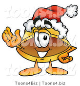 Illustration of a Cartoon Hard Hat Mascot Wearing a Santa Hat and Waving by Toons4Biz