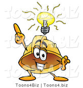 Illustration of a Cartoon Hard Hat Mascot with a Bright Idea by Toons4Biz