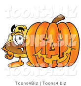Illustration of a Cartoon Hard Hat Mascot with a Carved Halloween Pumpkin by Toons4Biz