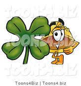 Illustration of a Cartoon Hard Hat Mascot with a Green Four Leaf Clover on St Paddy's or St Patricks Day by Toons4Biz