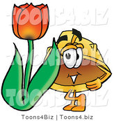 Illustration of a Cartoon Hard Hat Mascot with a Red Tulip Flower in the Spring by Toons4Biz
