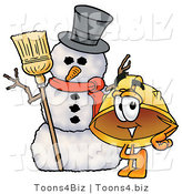 Illustration of a Cartoon Hard Hat Mascot with a Snowman on Christmas by Toons4Biz