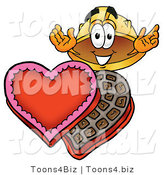 Illustration of a Cartoon Hard Hat Mascot with an Open Box of Valentines Day Chocolate Candies by Toons4Biz