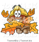 Illustration of a Cartoon Hard Hat Mascot with Autumn Leaves and Acorns in the Fall by Toons4Biz