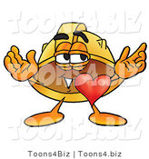 Illustration of a Cartoon Hard Hat Mascot with His Heart Beating out of His Chest by Toons4Biz