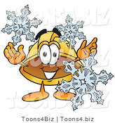 Illustration of a Cartoon Hard Hat Mascot with Three Snowflakes in Winter by Toons4Biz