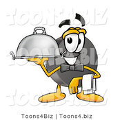 Illustration of a Cartoon Hockey Puck Mascot Dressed As a Waiter and Holding a Serving Platter by Toons4Biz
