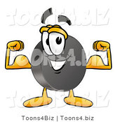 Illustration of a Cartoon Hockey Puck Mascot Flexing His Arm Muscles by Toons4Biz