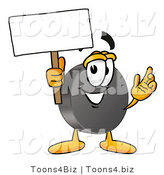 Illustration of a Cartoon Hockey Puck Mascot Holding a Blank Sign by Toons4Biz