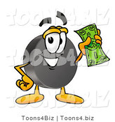 Illustration of a Cartoon Hockey Puck Mascot Holding a Dollar Bill by Toons4Biz