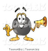 Illustration of a Cartoon Hockey Puck Mascot Holding a Megaphone by Toons4Biz