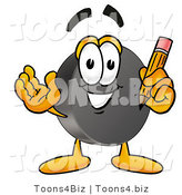 Illustration of a Cartoon Hockey Puck Mascot Holding a Pencil by Toons4Biz