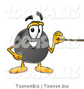 Illustration of a Cartoon Hockey Puck Mascot Holding a Pointer Stick by Toons4Biz