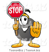 Illustration of a Cartoon Hockey Puck Mascot Holding a Stop Sign by Toons4Biz