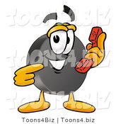Illustration of a Cartoon Hockey Puck Mascot Holding a Telephone by Toons4Biz