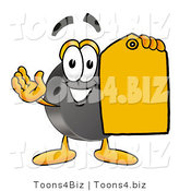 Illustration of a Cartoon Hockey Puck Mascot Holding a Yellow Sales Price Tag by Toons4Biz