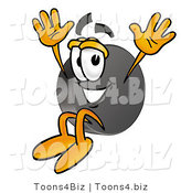 Illustration of a Cartoon Hockey Puck Mascot Jumping by Toons4Biz