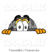 Illustration of a Cartoon Hockey Puck Mascot Peeking over a Surface by Toons4Biz