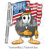 Illustration of a Cartoon Hockey Puck Mascot Pledging Allegiance to an American Flag by Toons4Biz