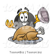 Illustration of a Cartoon Hockey Puck Mascot Serving a Thanksgiving Turkey on a Platter by Toons4Biz