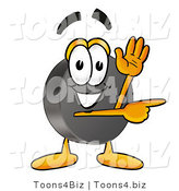 Illustration of a Cartoon Hockey Puck Mascot Waving and Pointing by Toons4Biz