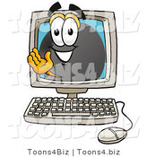 Illustration of a Cartoon Hockey Puck Mascot Waving from Inside a Computer Screen by Toons4Biz