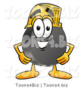 Illustration of a Cartoon Hockey Puck Mascot Wearing a Helmet by Toons4Biz