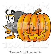 Illustration of a Cartoon Hockey Puck Mascot with a Carved Halloween Pumpkin by Toons4Biz