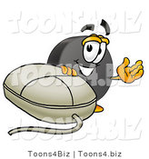 Illustration of a Cartoon Hockey Puck Mascot with a Computer Mouse by Toons4Biz