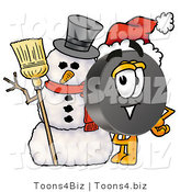 Illustration of a Cartoon Hockey Puck Mascot with a Snowman on Christmas by Toons4Biz