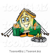 Illustration of a Cartoon House Mascot Camping with a Tent and Fire by Toons4Biz