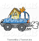 Illustration of a Cartoon House Mascot Driving a Blue Car and Waving by Toons4Biz