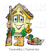 Illustration of a Cartoon House Mascot Duck Hunting, Standing with a Rifle and Duck by Toons4Biz