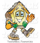 Illustration of a Cartoon House Mascot Hiking and Carrying a Backpack by Toons4Biz