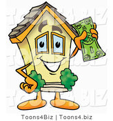 Illustration of a Cartoon House Mascot Holding a Dollar Bill by Toons4Biz